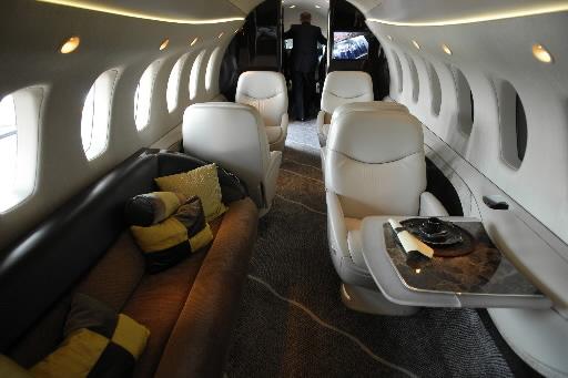 Wnętrze biznesowego odrzutowca Textron Citation, wchodzącego skład floty powietrznej NetJets. Fot. Bloomberg