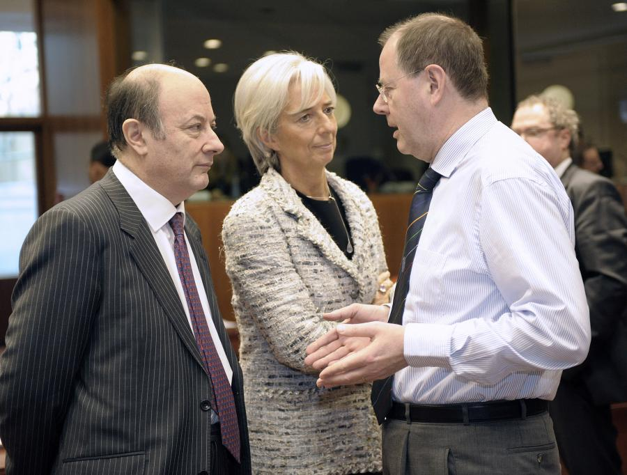 Jacek Rostowski, Christine Lagarde i Peer Steinbrück. Fot. Bloomberg