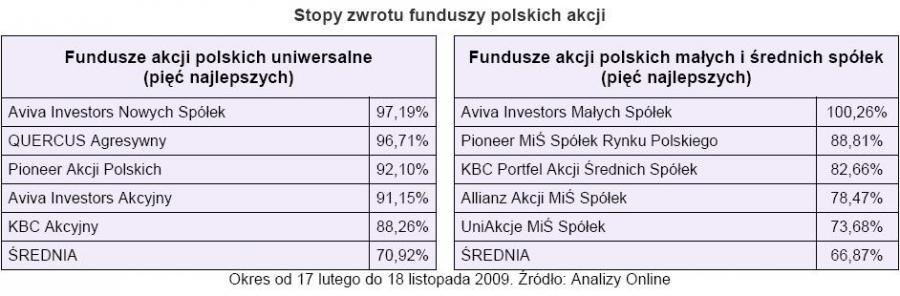 Stopy zwrotu funduszy polskich akcji