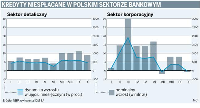 Kredyty niespłacone w polskim sektorze bankowym