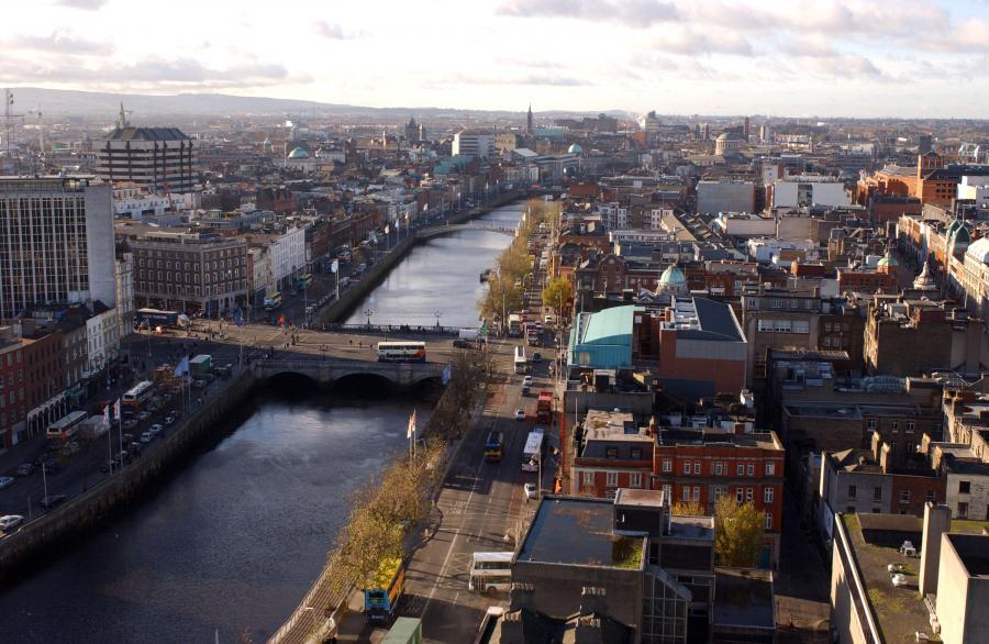 Widok na centrum Dublina, stolicy Irlandii
