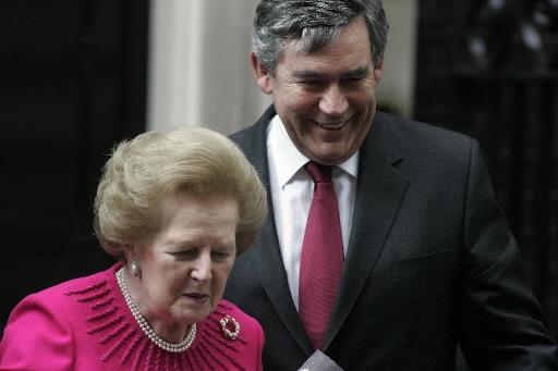 Była premier Margaret Thatcher i Gordon Brown, obecny gospodarz Downing Street 10