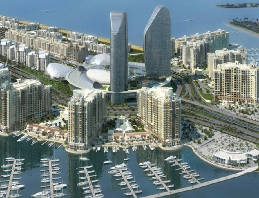 Budynki na wyspie w kształcie palmy w Dubaju