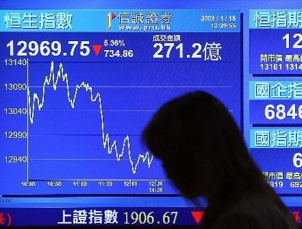 Tablica z notowaniami giełdy w Hong-Kongu