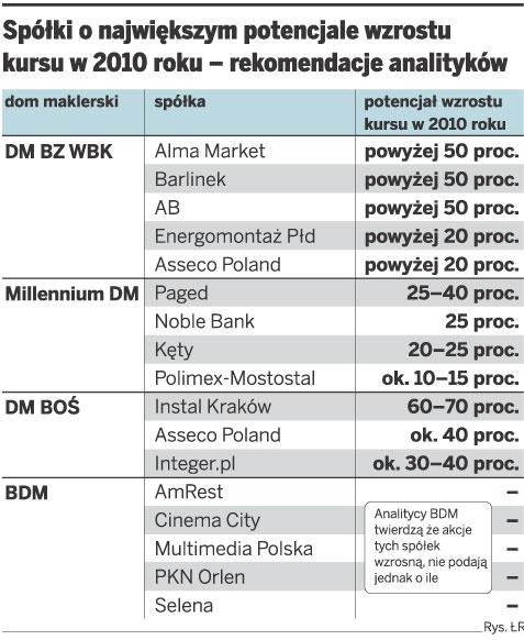 Spółki o największym potencjale wzrostu kursu w 2010 roku - rekomendacje polityków