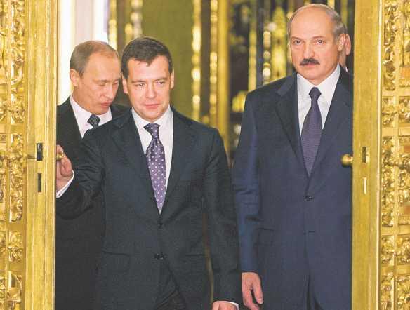 Władimir Putin, Aleksander Łukaszenka, Dmitrij Miedwiediew