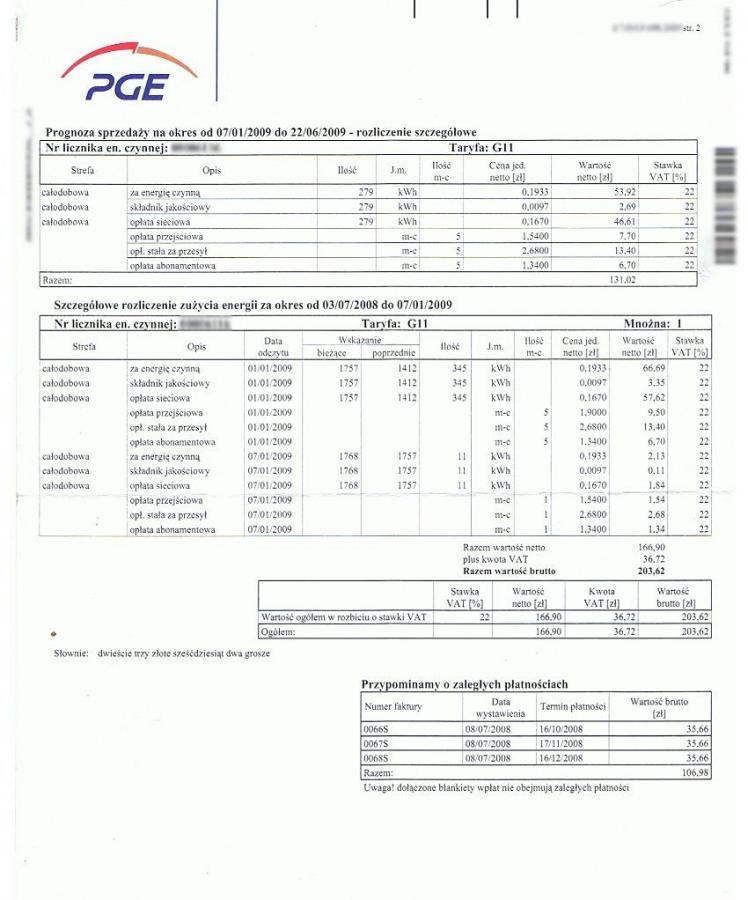 Przykładowy rachunek PGE za prąd