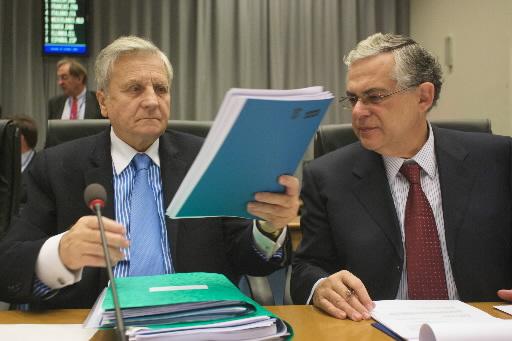 Jean-Claude Trichet i Lucas Papademos - prezes i wiceprezes Europejskiego Banku Centralnego