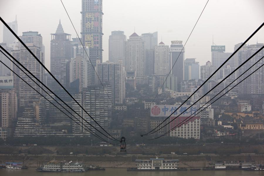 Widok na kolejkę liniową nad rzeką Jangcy