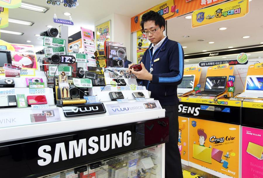 Produkty firmy Samsung na stoisku w Seulu w Korei Południowej