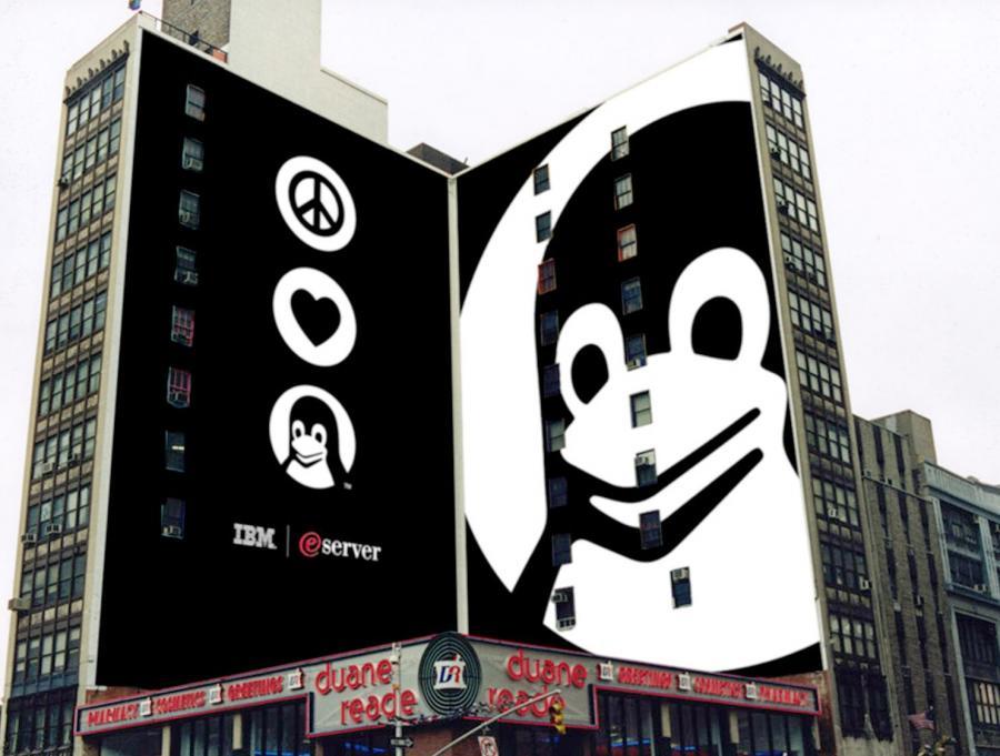 Bilbord IBM miłość, pokój i Linux na Manhattanie