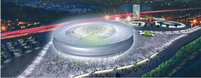Tak ma wyglądać stadion we Wrocławiu. Obwodnica A8 przebiega tuż obok areny