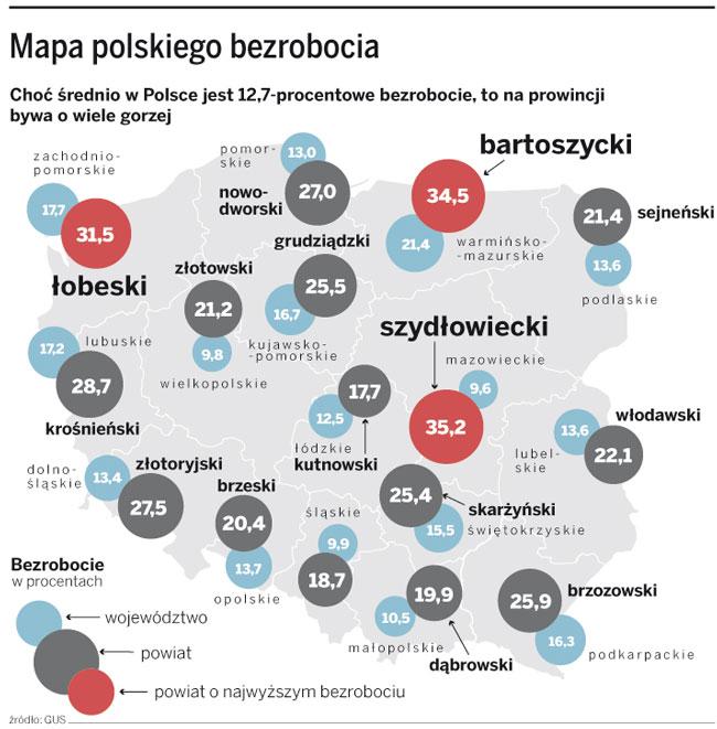 Mapa polskiego bezrobocia