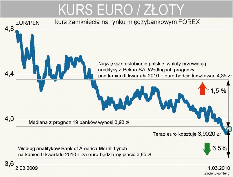 Jaki będzie kurs euro pod koniec II kwartału 2010 r.