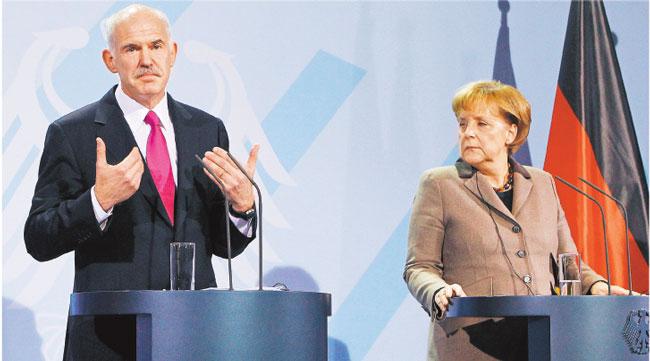 Premier Grecji Georgios Papandreu w czasie zeszłotygodniowej wizyty w Berlinie Fot. AP