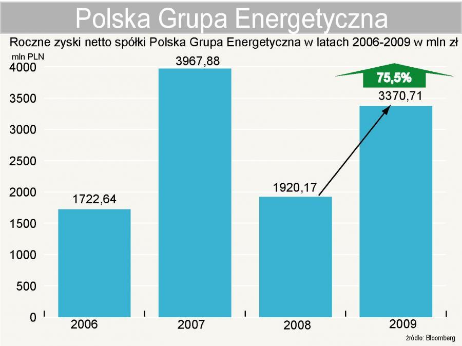 PGE - Polska Grupa Energetyczna - roczne zyski netto