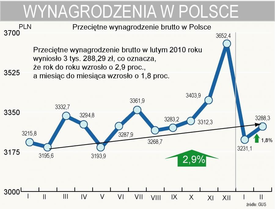Przeciętne wynagrodzenie brutto w Polsce w lutym wzrosło o 2,9 proc. do 3 tys. 288,29 zł