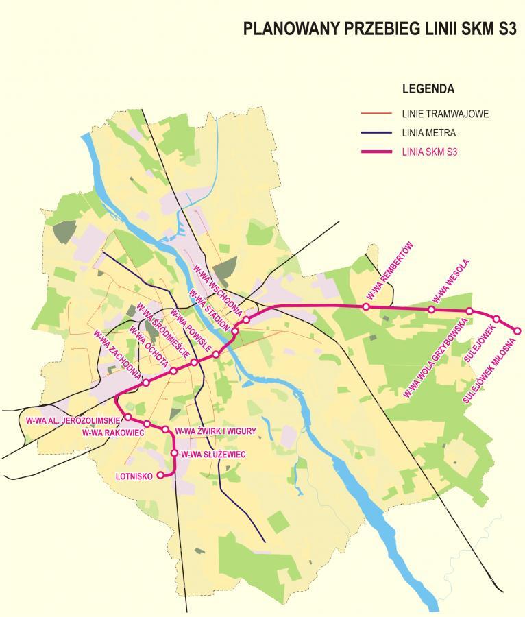 Taką droge przebędzie Pesa ELF z centrum na lotnisko Okęcie. Dojazd ma zająć 20 minut. Fot. materiały prasowe UM Warszawa