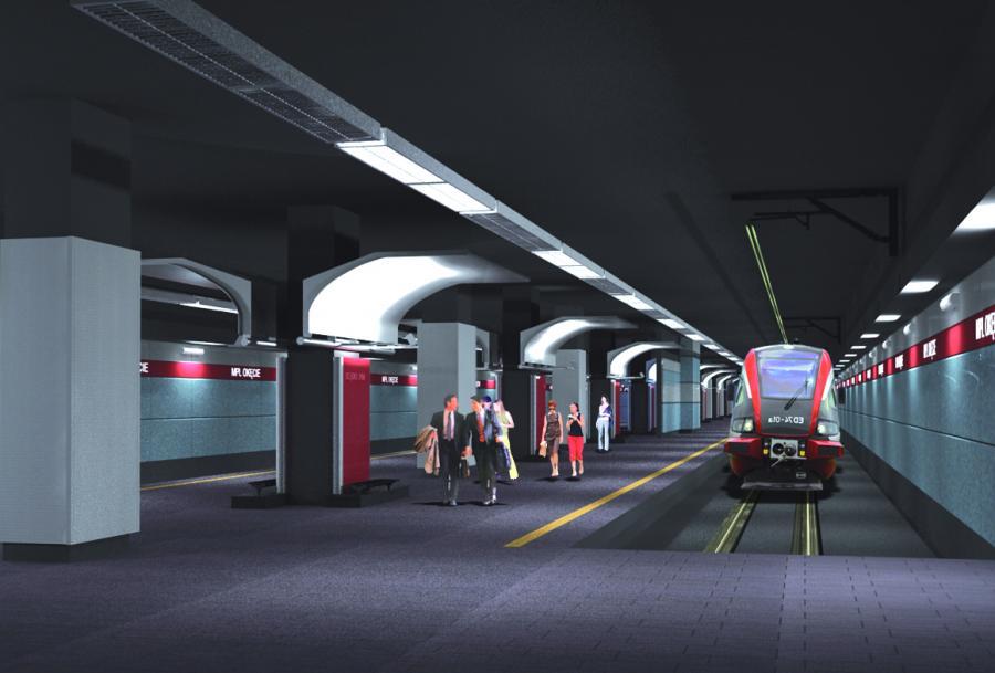 Wizualizacja stacji kolejowej pod lotniskiem Okęcie. Fot. materiały prasowe UM Warszawa