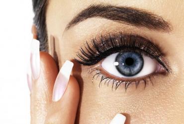 oczy, makijaż, brwi, kobieta