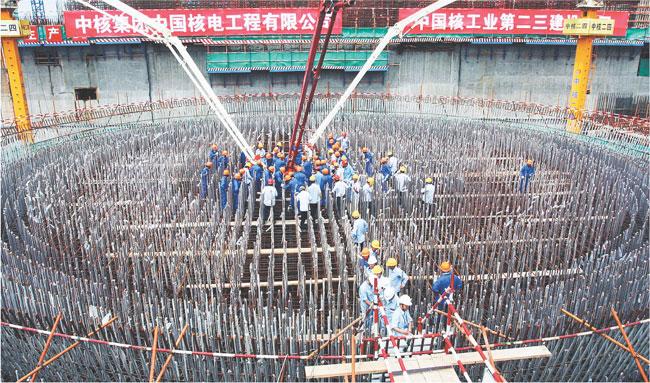 Budowa elektrowni jądrowej w prowincji Fujian. Do 2020 roku w ChRL będzie więcej siłowni atomowych niż w USA Fot. AFP