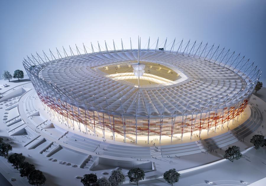 Stadion Narodowy w Warszawie - makieta. Źródło: NCS.
