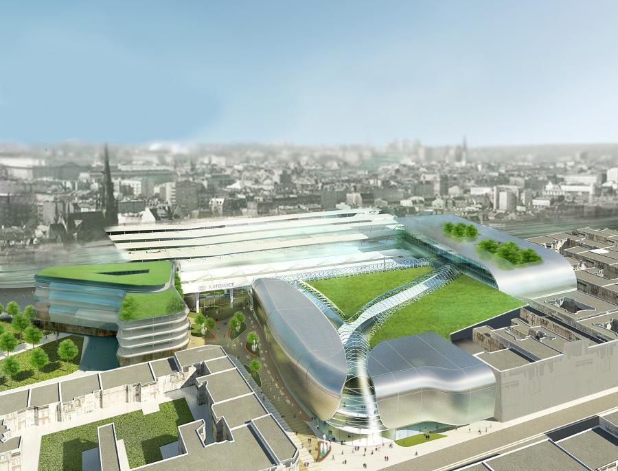 Wizualizacja nowego dworca w Katowicach - widok z lotu ptaka