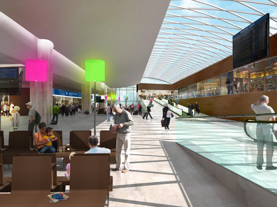 Wizualizacja nowego dworca w Katowicach - wnętrze hali głównej