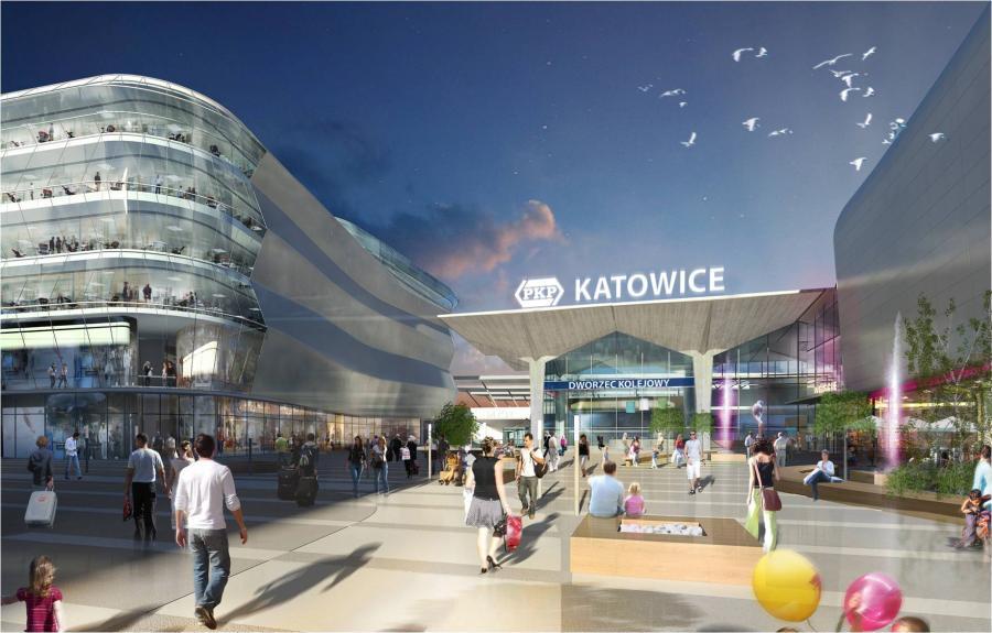 Wizualizacja nowego dworca w Katowicach - widok od frontu