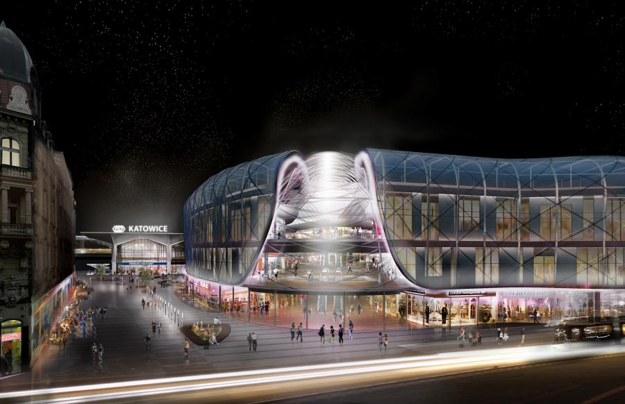Wizualizacja nowego dworca w Katowicach - panorama w nocy