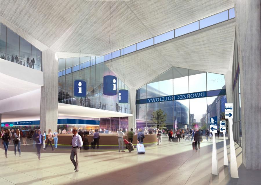 Wizualizacja nowego dworca w Katowicach - wejście do hali głównej