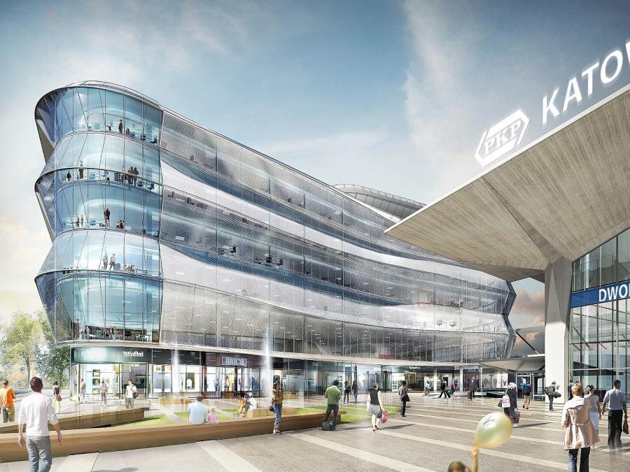 Wizualizacja nowego dworca w Katowicach - widok galerii handlowej