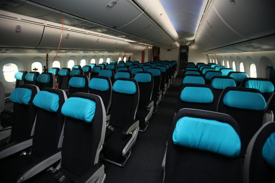 Wnętrze samolotu Boeing 787 Dreamliner, fot. Simon Dawson/Bloomberg