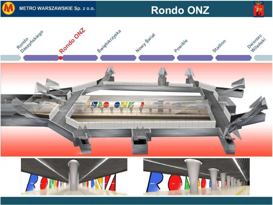 Metro warszawskie - przekrój stacji Rondo ONZ