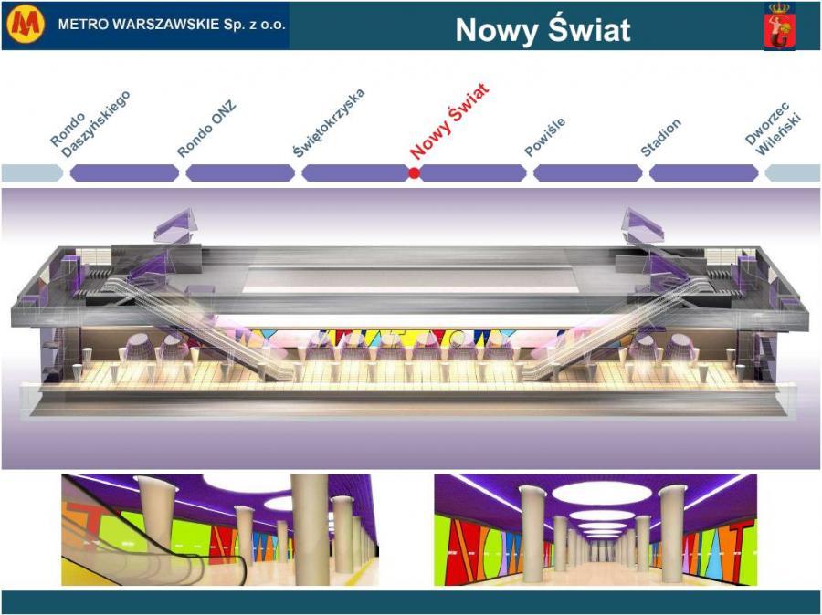 Metro warszawskie - przekrój stacji Nowy Świat