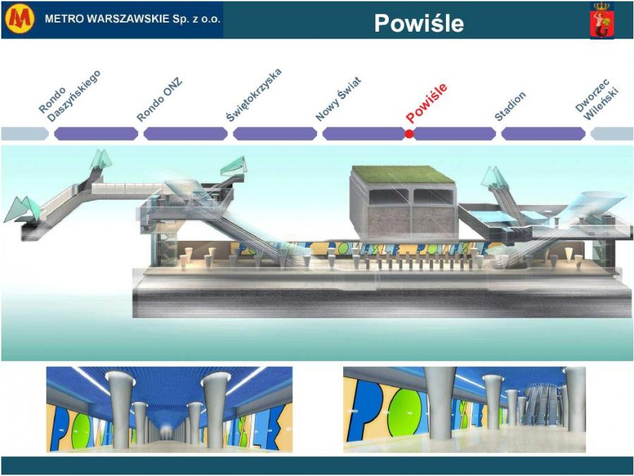 Metro warszawskie - przekrój stacji Powiśle
