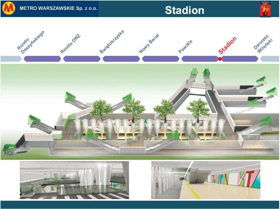 Metro warszawskie - przekrój stacji Stadion