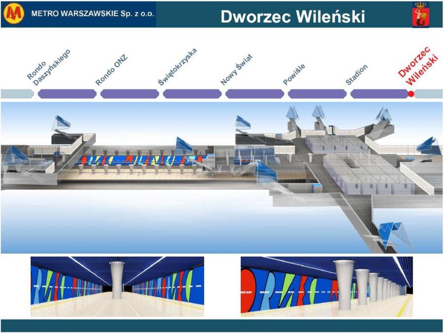 Metro warszawskie - przekrój stacji Dworzec Wileński