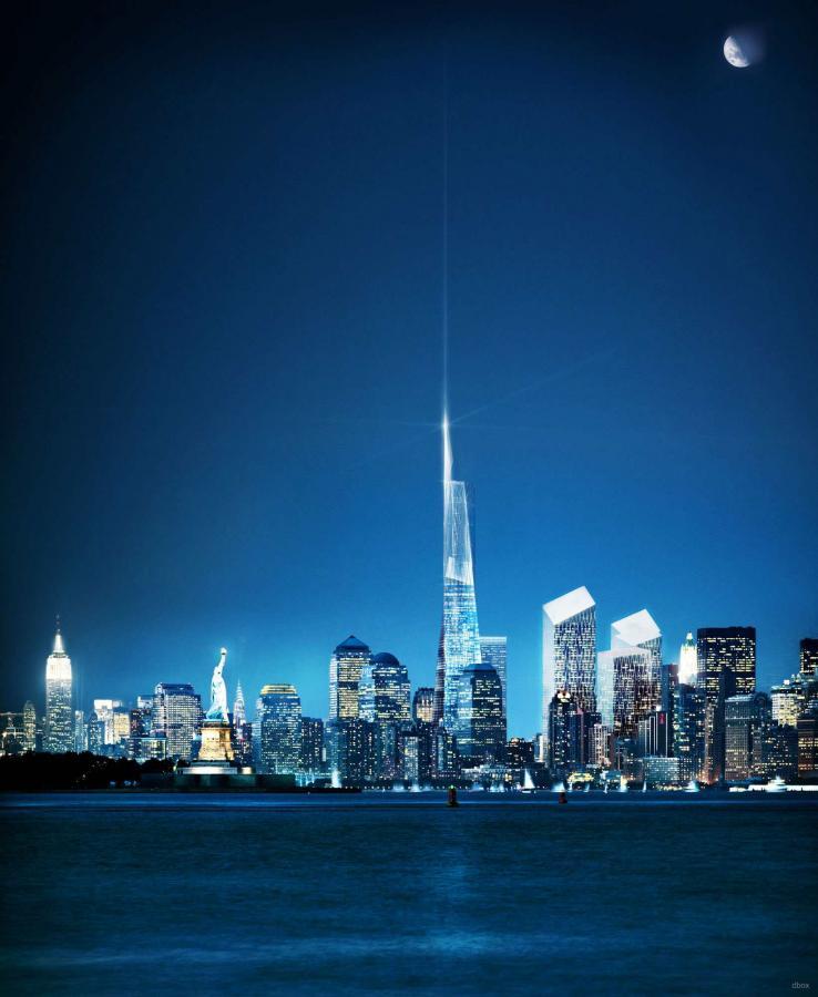 Wizualizacja nowego kompleksu World Trade Center wraz z najwyższym budynkiem w Nowym Jorku - Wieżą Wolności