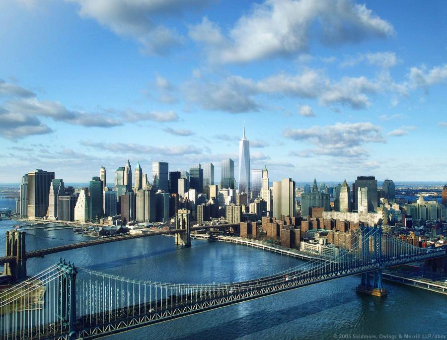 Wizualizacja nowego kompleksu World Trade Center z Wieżą Wolności