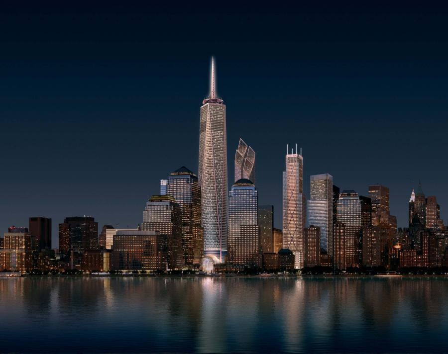 Wizualizacja: Dolny Manhattan z nowymi wieżowcami i dominującą Freedom Tower ą w miejscu zburzonych wież World Trade CEnter