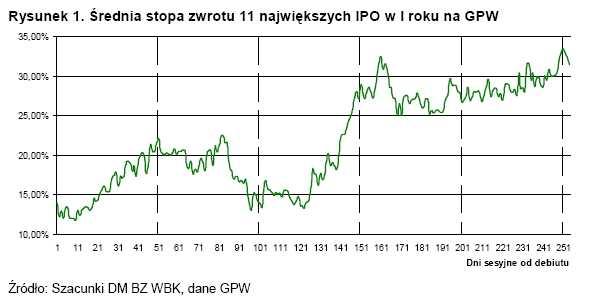 Średnia stopa zwrotu 11 największych IPO w I roku na GPW