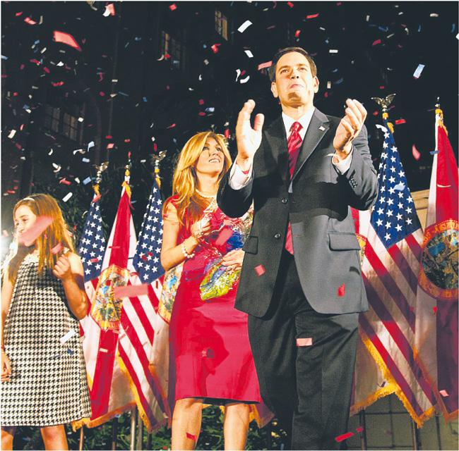 Marco Rubio uznawany za wschodzącą gwiazdę Tea Party świętuje zwycięstwo Republikanów Fot. PAP/EPA