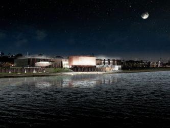 Centrum Nauki Kopernik - nocny widok z Mostu Świętokrzyskiego. fot. wizualizacja Centrum Nauki Kopernik