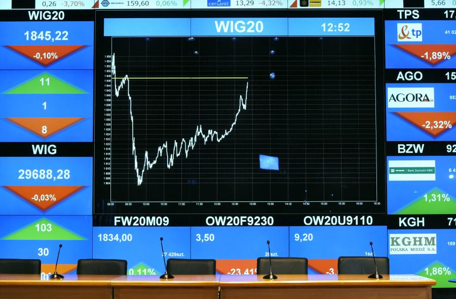 Ekran z wykresem na GPW fot. John Guillemin/Bloomberg News