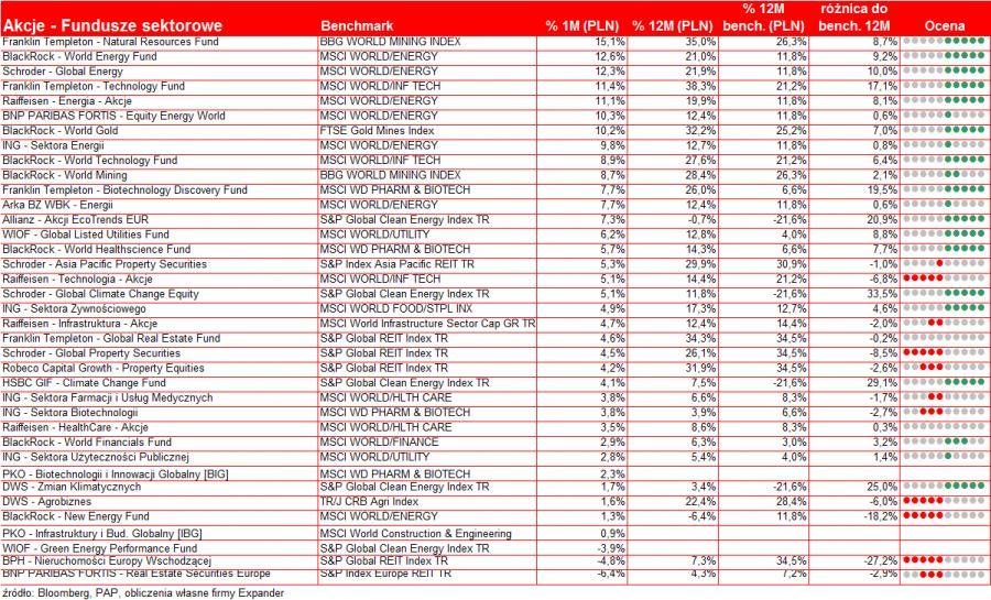 Wyniki funduszy - fundusze sektorowe - listopad 2010 r.
