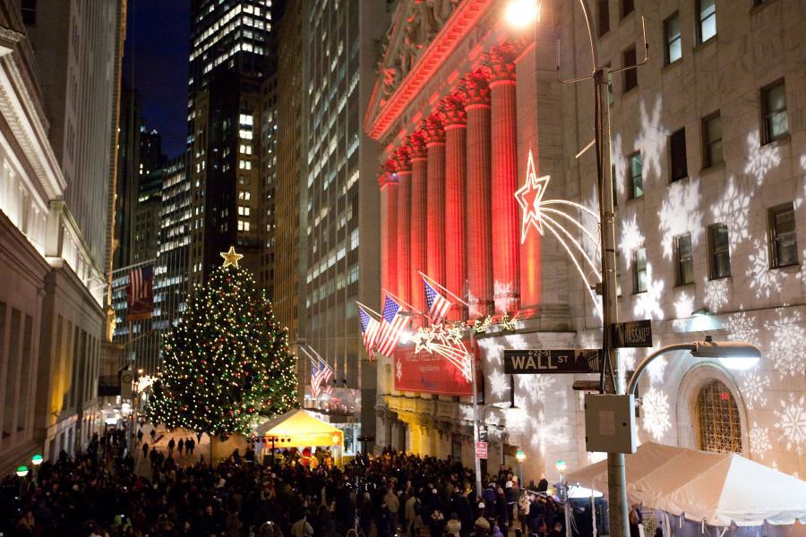 Świąteczna atmosfera na Wall Street