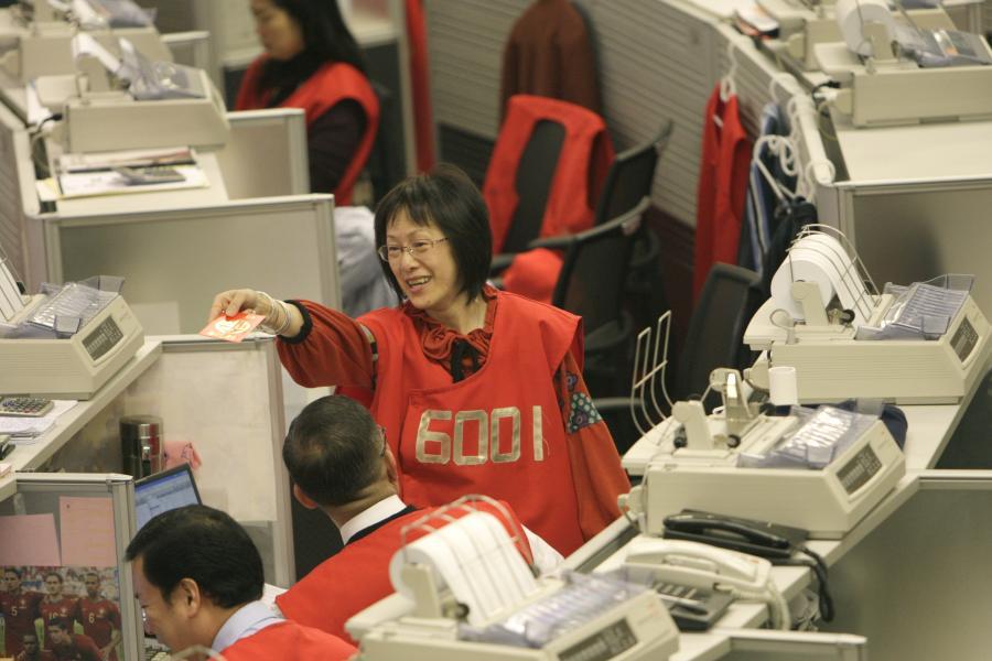 Maklerka na giełdzie w Hong Kongu