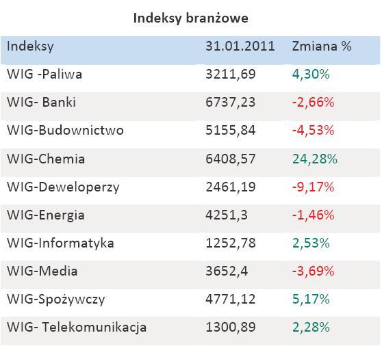 Indeksy branżowe - styczeń 2011 r.