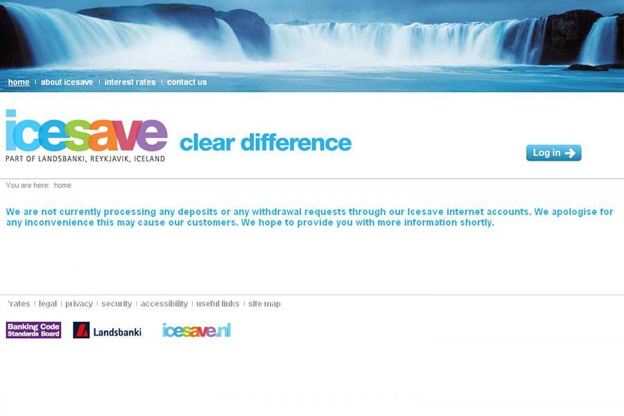 Strona internetowa upadłego islandzkiego banku Icesave